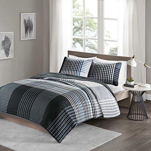 Bed One Ensemble Complete (Comfort Spaces Benjamin Mini Quilt Set - 3 Piece - Black/White - Stylish Ultra Soft Cozy Warm Microfiber Plaid Full/Queen Size, Includes 1 Coverlet and 2 Shams)
