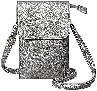 FRYH Leder Lell Handytasche Leder Mobile Wallet Bag Kleine Umh/ängetasche F/ür Damen Mit Langem Kreuzg/ürtel Und Schl/üsselring Geeignet F/ür Alle Handys Unter 6 5 Zoll,Black