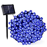 Qedertek Solar & Battery String Lights, 72ft 200 LED Dual Power Seasonal Decorative Fairy String Lights, Halloween Outdoor Lights for Home, Garden, Patio, Holiday, Wedding and Party Decorations(Blue)