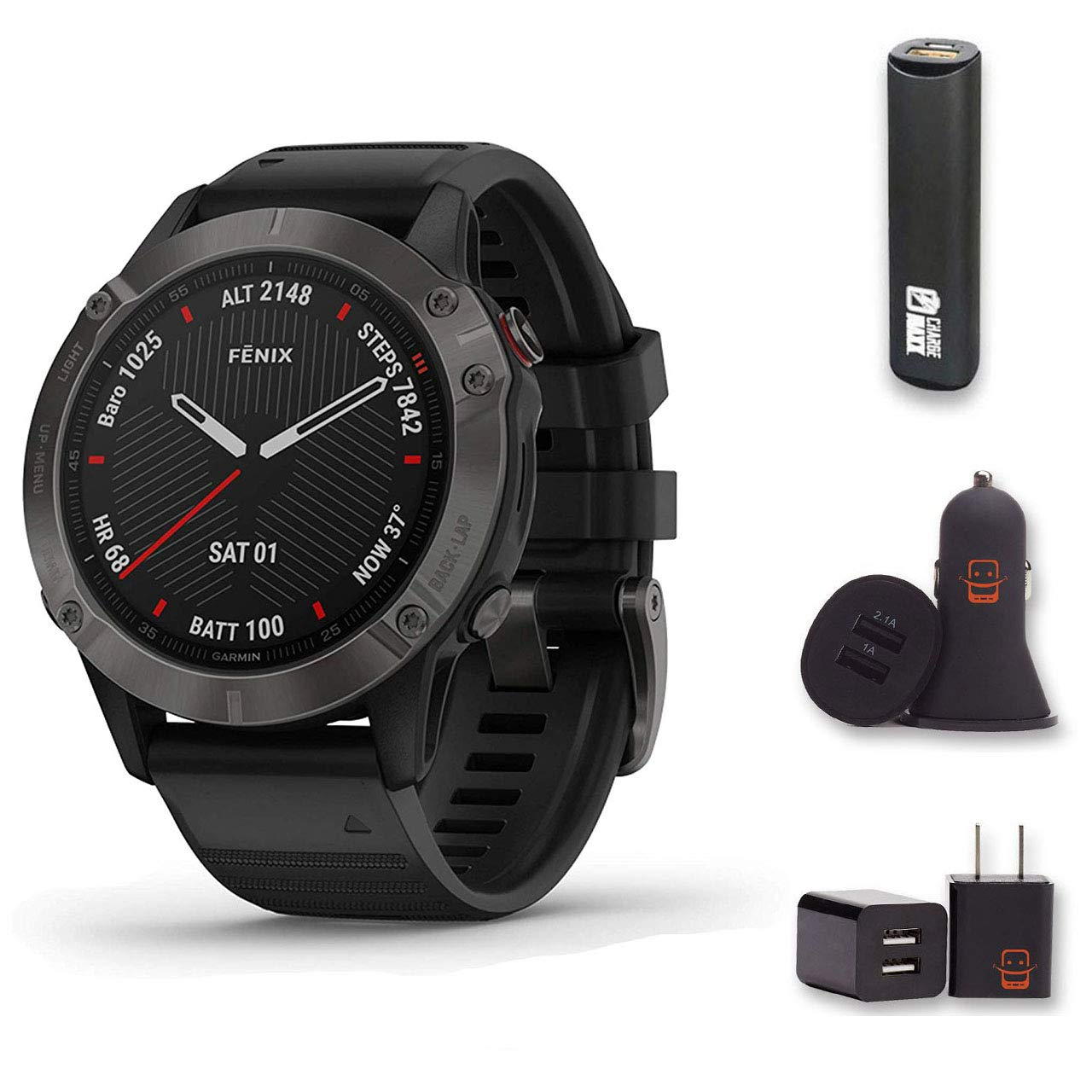 Garmin Fenix 6 Sapphire - (Dark Gray w/Black Band) Bundle with PowerBank + USB Car Charger + USB Wall Charger (4 Items)