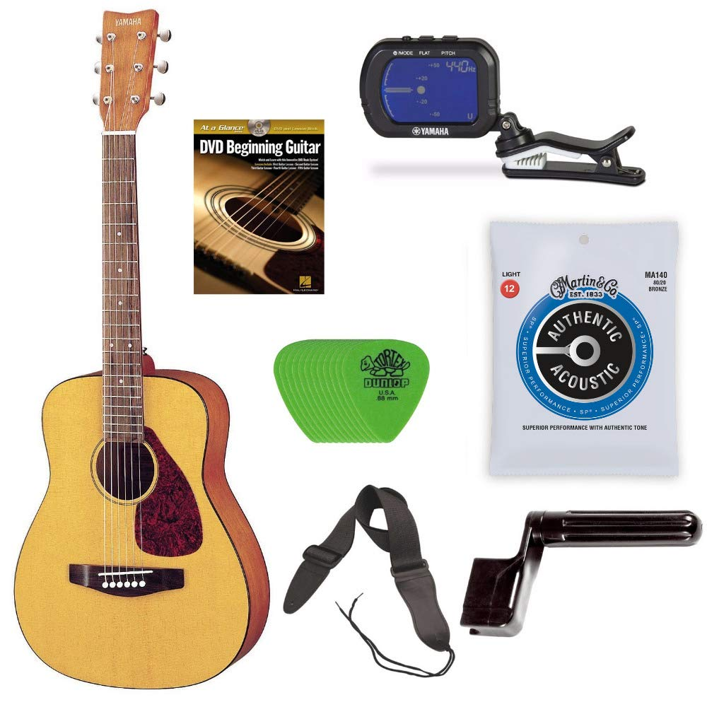 YAMAHA JR1 3/4 Size Acoustic Guitar Bundle with Clip-On Chromatic Tuner, Gig Bag, Guitar Strings, String Winder, Guitar Strap, Picks and Beginner's Learning Guitar DVD by YAMAHA