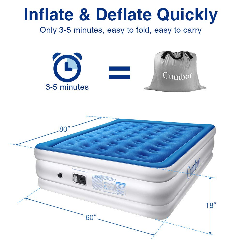 Cumbor Luxury Queen Built-in Pump, Best Inflatable Airbed Coil Technology-18inch Double Height, 0.45mm Extra Thick Elevated Raised Air Mattress, 2-Year Guarantee by Cumbor (Image #6)