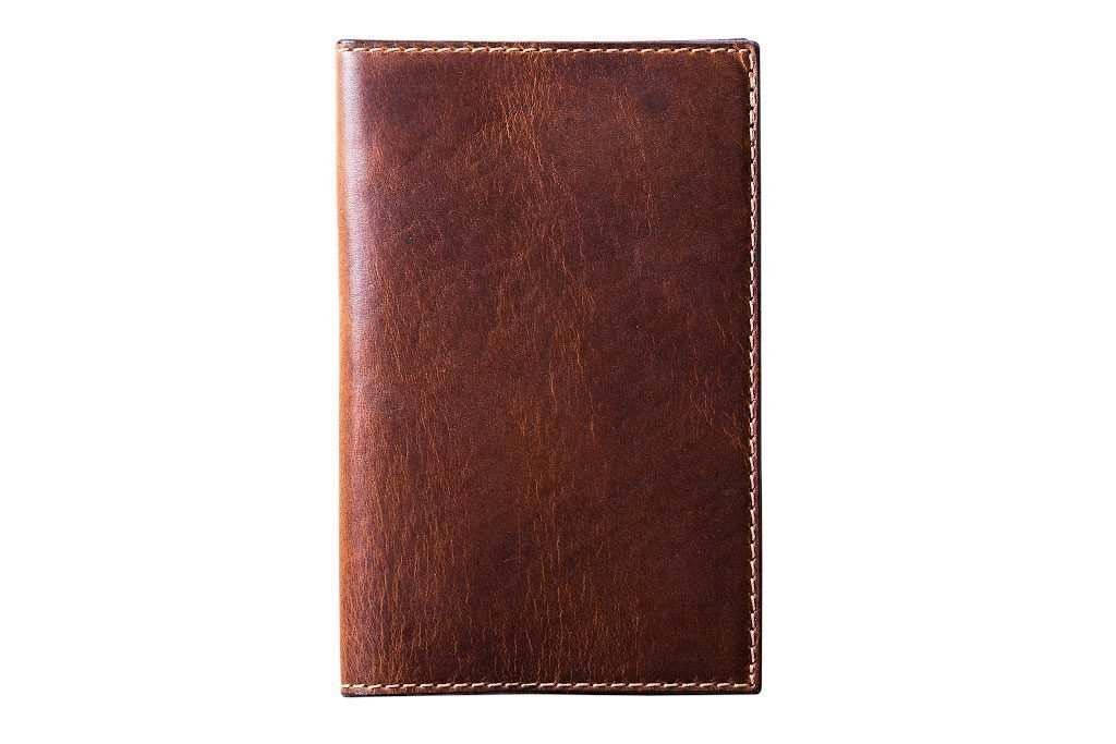 Leather Journal Cover for Moleskine Cahier Notebook Chestnut Color Pocket size 3.5'' x 5.5'' Field Notes Cover Vintage Refillable Notepad Handmade in USA