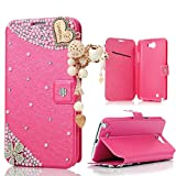 note 2 wallet case - Note 2 Case, Samsung 7100 Case - Mavis's Diary 3D Handmade Bling Crystal LOVE Heart Pendant Sparkle Glitter Rhinestone Diamond Flowers PU Leather Wallet Magnetic Clasp Card Holder Folio Case Cover
