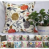 """TangDepot 100% Cotton Floral/Flower Printcloth Decorative Throw Pillow Covers /Handmade Pillow Shams, 14 Color and 10 Size options, Light Black, Peach Blossom, Red Rosebush, Red And Green Leaf, White Magnolia, Fantastic Flowers, Chrysanthemum, Peony, Red And Navy Flower, Blue Floral, Pink Floral, Blue Wheel, Red Wheel, Tree Rings, 12"""" x 12"""", 12"""" x 18"""", 12"""" x 20"""", 14"""" x 14"""", 16"""" x 16"""", 18"""" x 18"""", 20"""" x 20"""", 22"""" x 22"""", 24"""" x 24"""" and 26"""" x 26"""" - (18""""x18"""", S07 Chrysanthemum)"""