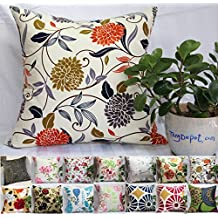 """TangDepot 100% Cotton Floral/Flower Printcloth Decorative Throw Pillow Covers /Handmade Pillow Shams, 14 Color and 10 Size options, Light Black, Peach Blossom, Red Rosebush, Red And Green Leaf, White Magnolia, Fantastic Flowers, Chrysanthemum, Peony, Red And Navy Flower, Blue Floral, Pink Floral, Blue Wheel, Red Wheel, Tree Rings, 12"""" x 12"""", 12"""" x 18"""", 12"""" x 20"""", 14"""" x 14"""", 16"""" x 16"""", 18"""" x 18"""", 20"""" x 20"""", 22"""" x 22"""", 24"""" x 24"""" and 26"""" x 26"""" - (20""""x20"""", S07 Chrysanthemum)"""