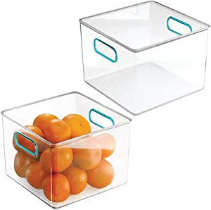 mDesign Plastic Food Storage Container Bin with Handles for Kitchen, Pantry, Cabinet, Fridge/Freezer - Cube Organizer for Snacks, Produce, Vegetables, Pasta - BPA Free, Food Safe - 2 Pack, Clear/Blue
