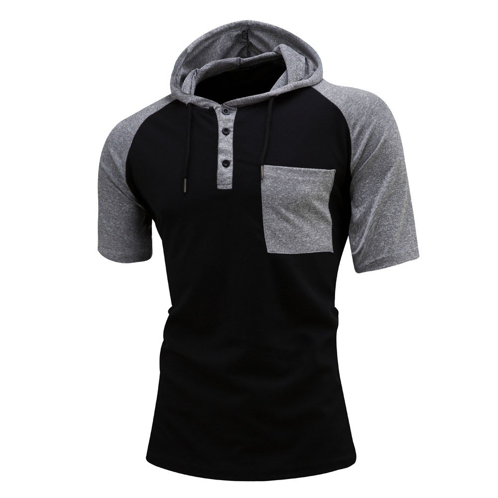 Men's Casual Short Sleeve Hoodie Patchwork T-Shirts Tee Tops with Pocket by Nevera
