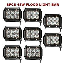 "Primeprolight Led Light Bar 8Pcs 4"" 18W Flood Light bar LED Pods Flood Beam 12-32V Waterproof IP67 LED Driving Light for Universal Off-Road 4WD ATV Jeep Boat, One Year Warranty"