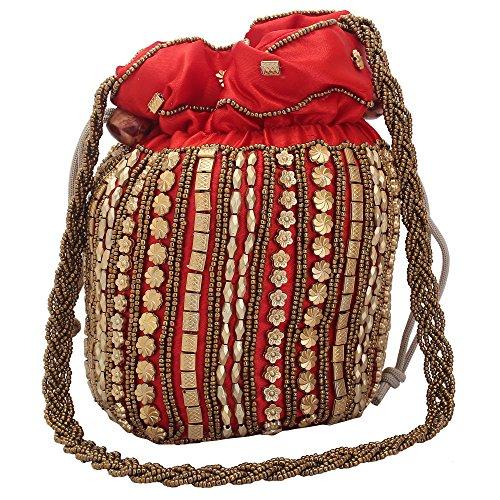 Jwellmart Women Traditional Satin Purse Potli Bag Drawstring Jewelry Pouch Bag Gift Bag Value Set Wristlet Beaded Mirror Handbag Wedding Evening Party Designer Bridal Clutch (Beaded Handbags Purses Designer Purse)