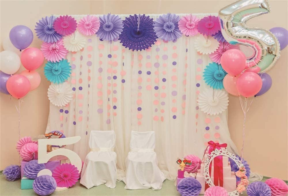 Amazon.com : AOFOTO 5x3ft Baby Girl 5th Birthday Party Decoration Backdrop Sweet Pink Room Interior Paper Flowers Balloons Pom-poms 5 Years Old Bday Party Photo Studio Props Vinyl : Camera & Photo