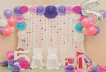 AOFOTO 6x4ft Baby Girl 5th Birthday Party Decoration Backdrop Sweet Pink Room Interior Paper Flowers Balloons