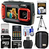 Coleman Duo 2V9WP Dual Screen Shock & Waterproof Digital Camera (Red) with 32GB Card + Batteries & Charger + Case + Tripod + Kit