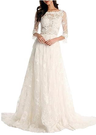 DreHouse Women\'s Lace Vintage Wedding Dresses 2017 Beach Bridal ...