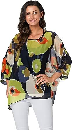 Mujer Camiseta Gasa Transparente Boho Blusa Estampado Floral Pulover Top Etnico Africana Camisa Manga Murcielago Verano Tunica Talla Grande Caftan Playa Kimono Moda Camisolas y Pareos Bikini Cover Up: Amazon.es: Ropa y