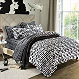 California King Versus King Size Bed Simplelife Bedding Collection Black and White Maze Pattern 4pc Duvet Cover Set Polyester King Size