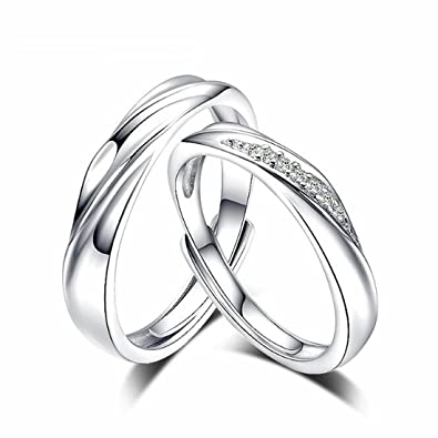 4d21fb8d42 LOCHING Simple Life Interwoven Love 925 Sterling Silver Cubic Zirconia  Couple Lovers Band Ring Wedding Promise