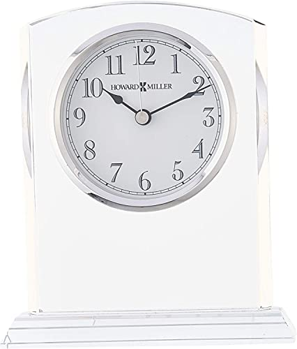 Howard Miller Flaire Table Clock 645-713 Glass Crystal with Quartz Movement