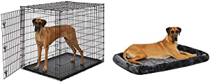 "MidWest Homes for Pets Ginormous 54"" Single Door Giant Dog Crate w/Matching Crate Bed"
