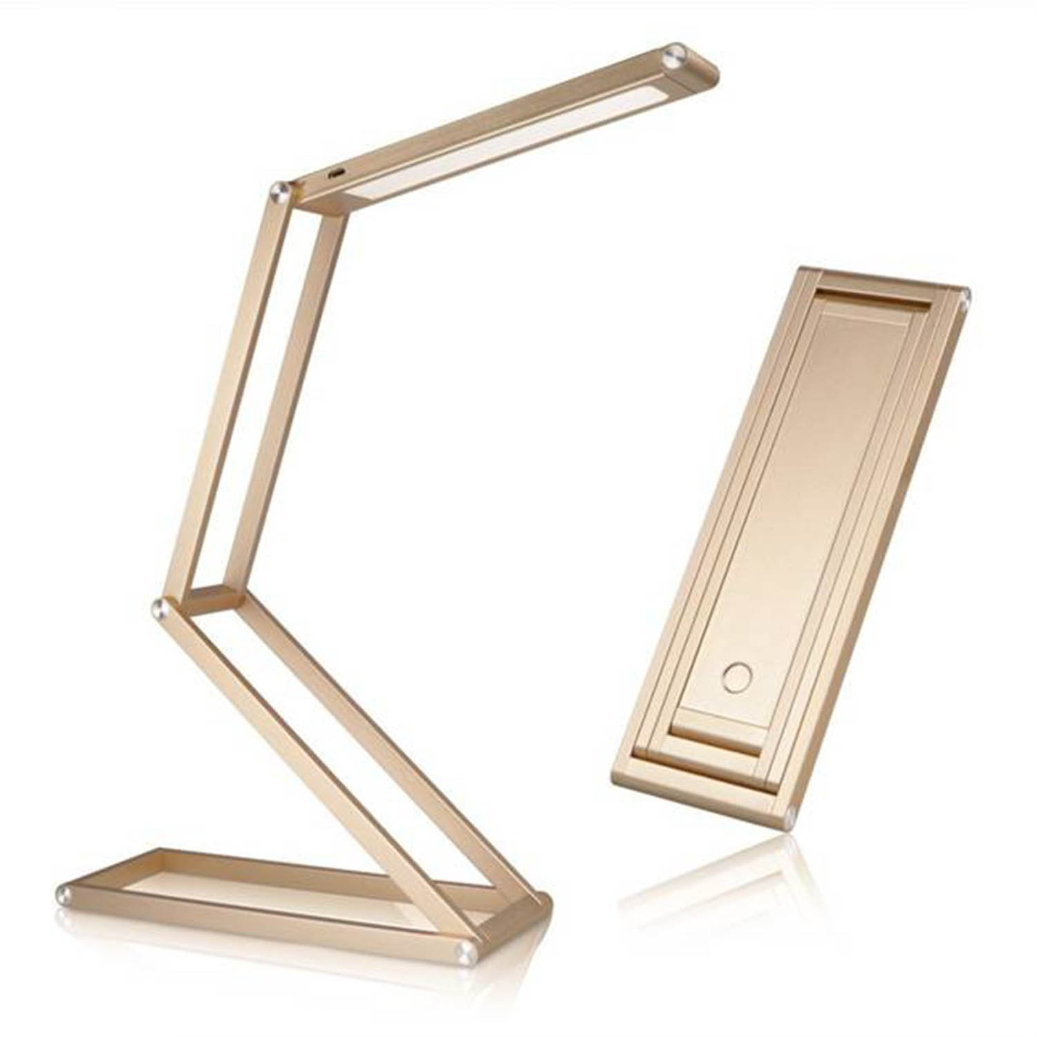 Portable Metal Desk Lamp LED, Dimmable Foldable LED Desk Lamp with USB Charging Port, Flexible Arm, Rotatable Head, Eye-Friendly Design, Gold Aluminum Alloy 3W