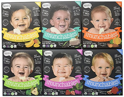Nosh Baby Munchables Teethers Organic Rice Teething Wafers, 26 Piece, Variety Pack (Pack of 6), Option 1