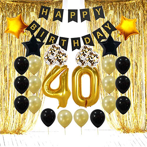 40th Birthday Decorations Gifts for Men Women - 40 Birthday Party Supplies - Gold Foil Fringe Curtains, Happy Birthday Banner, 40 Number and Confetti Balloons