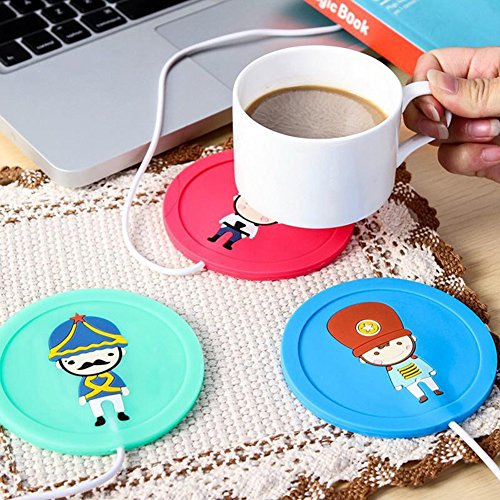 Togethluer USB Silicone Heat Warmer Heater,Milk Tea Coffee Mug Hot Drinks Beverage Cup Mat Red by Togethluer (Image #3)