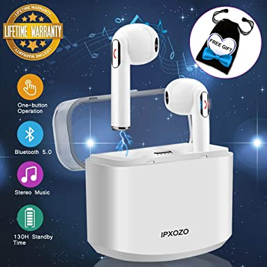 Wireless Earbuds,Bluetooth Earbuds Stereo Wireless Earbuds for Cell Phones Mini Wireless Earphones with Microphone Sports Earpieces Bluetooth 5.0 in Ear Earphones for Android Phones White