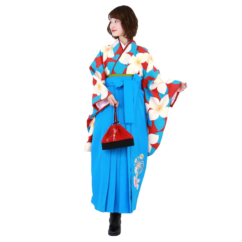 卒業式 袴 ブーツ付き 16点フルセット 赤地に白い花 〔zu〕 B079DQF4XK