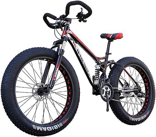 Bicicleta de montaña, bicicletas plegables suspensión unisex doble bicicleta de montaña 24/26 pulgadas 21/24/27 Neumáticos velocidad de descenso de grasa nieve Bicicletas Bicicleta Negro for Off-Road,: Amazon.es: Hogar