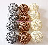 Christmas Gifts : Small Silver, Gold, White Rattan Ball, Wicker Balls, DIY Vase And Bowl Filler Ornament, Decorative Spheres Balls, Perfect For Decoration On Any Occasion 2 - 2.5 inch, 12 Pcs.