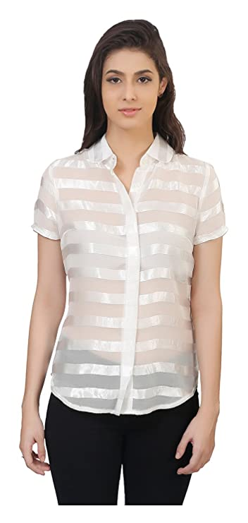 MansiCollections Casual Short Sleeve Self Design White Top for Women Women's Tops
