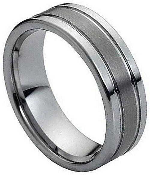 Cobalt Ring Double Groove Brused Matt /& Polished Wedding Ring 7mm