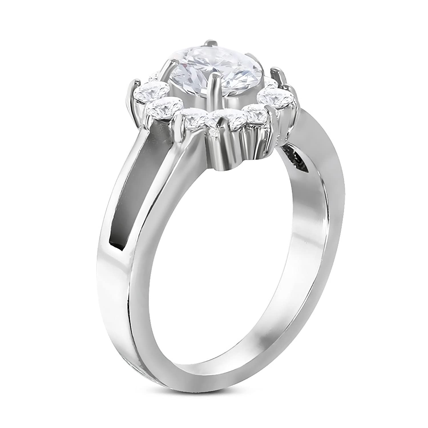Stainless Steel Prong-Set Flower Fancy Ring with Clear CZ