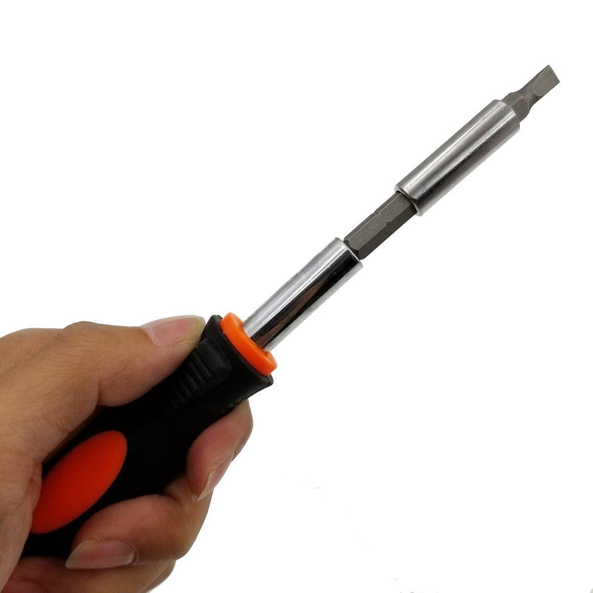 Brocas para destornillador flexible + destornillador magnético desmagnetizador + mango de destornillador magnético + cabezal de destornillador