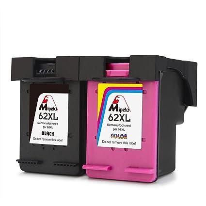 Mipelo Remanufacturado HP 62XL Cartuchos de tinta (1 Negro, 1 Tricolor) Compatible con HP OfficeJet 5740 200, HP ENVY 5640 5642 7640 5540 5542 ...