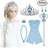 Vicloon Aggiornamento Accessori Costumi per Ragazze Costume Elsa Frozen Costume Carnevale - Parrucca / Diadema con Un Diamante / Guanti / Bacchetta Magica/Anello/Orecchino/Collana