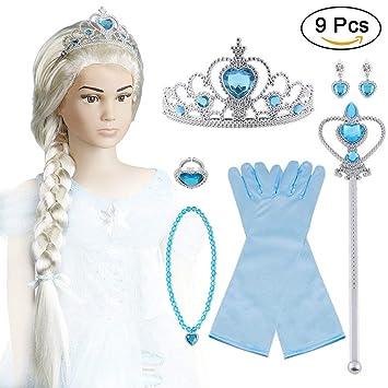 124b6149fbb1 Vicloon 9Pcs Upgrade Princesa Vestir Accesorios -  Peluca Corona Sceptre Anillo  Pendientes Collar Guantes para Niña   Amazon.es  Juguetes y juegos