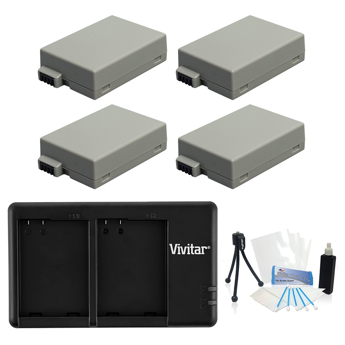 4-Pack LP-E8 High-Capacity Replacement Battery with Rapid Dual Charger for Select Canon Digital Cameras - UltraPro Bundle Includes: Camera Cleaning Kit, Camera Screen Protector, Mini Travel Tripod