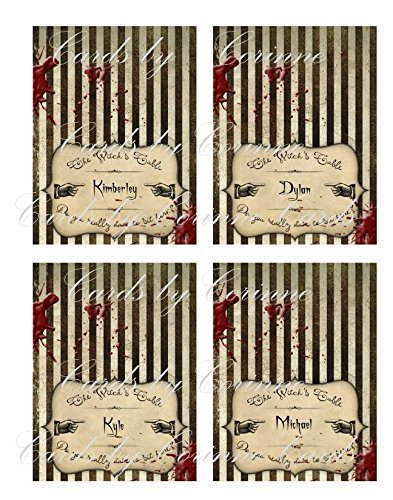 Halloween name place cards set of 8 grunge tent cards I will personalize the names]()