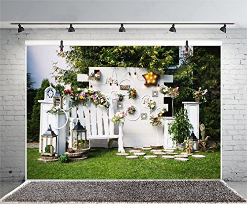 (Leyiyi 10x6.5ft Photography Backgroud Wedding Ceremony Backdrop Marriage Party Wooden Screen Grassland Bulbs Urban Garden Garland Royal Armchair Candle Birdcage Trees Photo Portrait Vinyl Studio Prop)