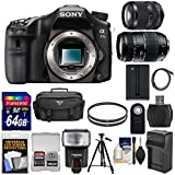 Sony Alpha A77 II Wi-Fi Digital SLR Camera Body with 18-135mm & 70-300mm Lens + 64GB Card + Battery/Charger + Case + Tripod + Flash + Kit