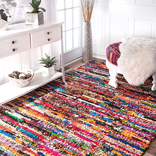 Braided Cotton Pinstripes Rag Multi Area Rugs, 7 Feet 6 Inches by 9 Feet 6 Inches (7' 6