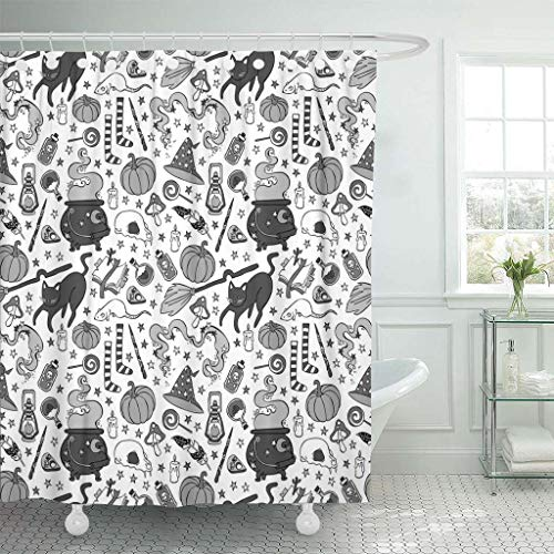 Emvency Fabric Shower Curtain Curtains with Hooks Candle Witch Broom Cauldron Hat Black Cat Halloween Pumpkin Candies Magic Pattern Cute Feather Candy Skull 72