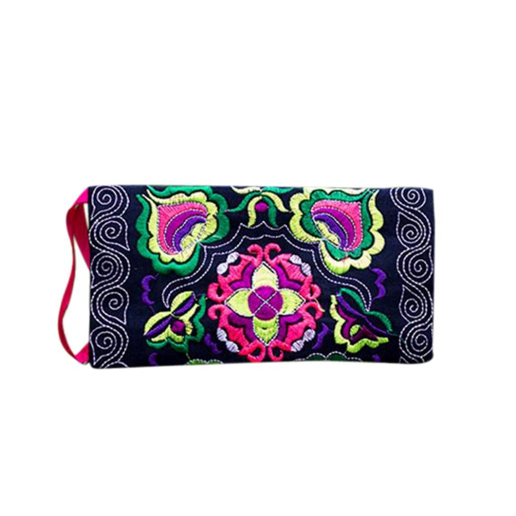 DZT1968 Women's Embroidered Cloth Long Card Holder Handbag Phone Wallet With Strap (Black)