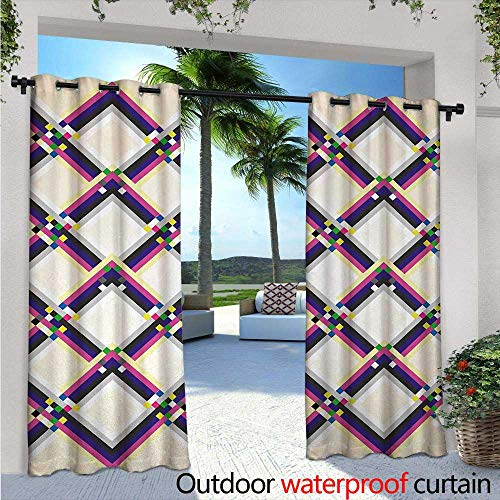 Abstract Outdoor- Free Standing Outdoor Privacy Curtain W96