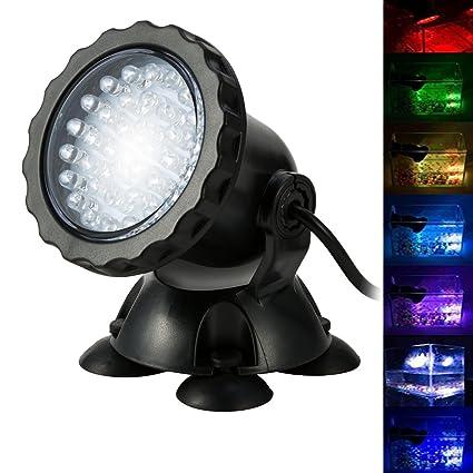 BLOOMWIN Proyector de Acuario 3.5W 12V 36 LEDs IP68 Luz Sumergible Foco Iluminación de Piscina