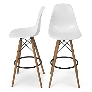 Charming Belleze Set Of (2) High Chair Bar Modern Stool Style DSW Counter Height  Natural