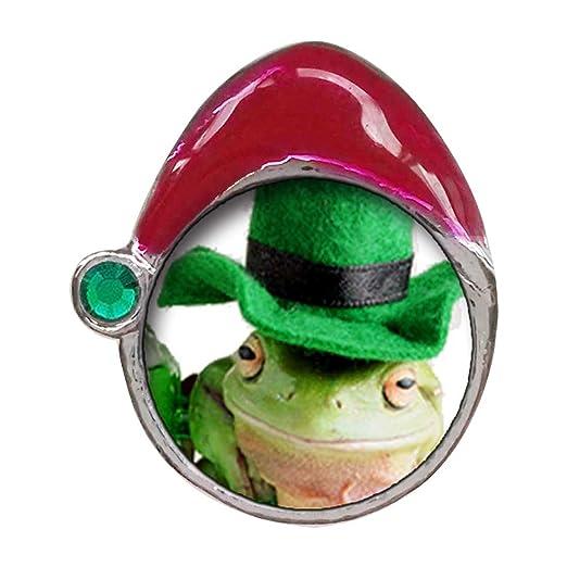 ST. Patricio rana verde esmeralda de piedra de cristal rojo ...