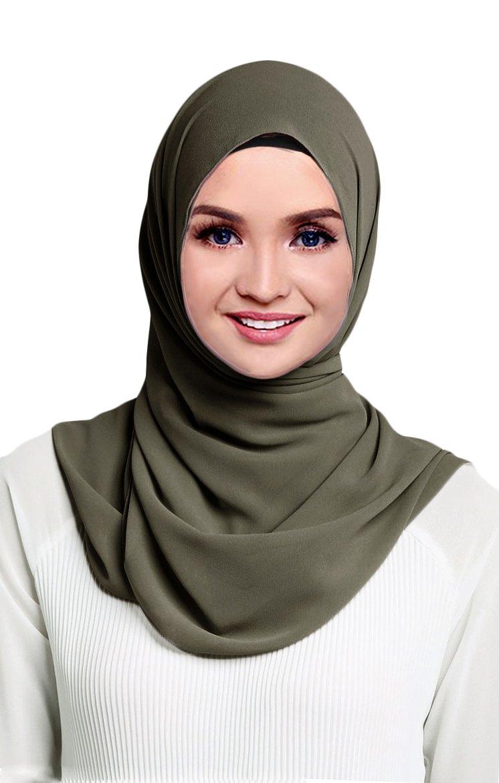 Hana's Womens Georgette Chiffon Hijab (One Size, Olive)